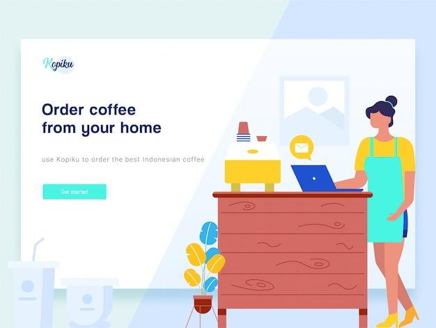 ビジネスコーヒーブレイクランディングページ。ベクトルイラスト Premiumベクター