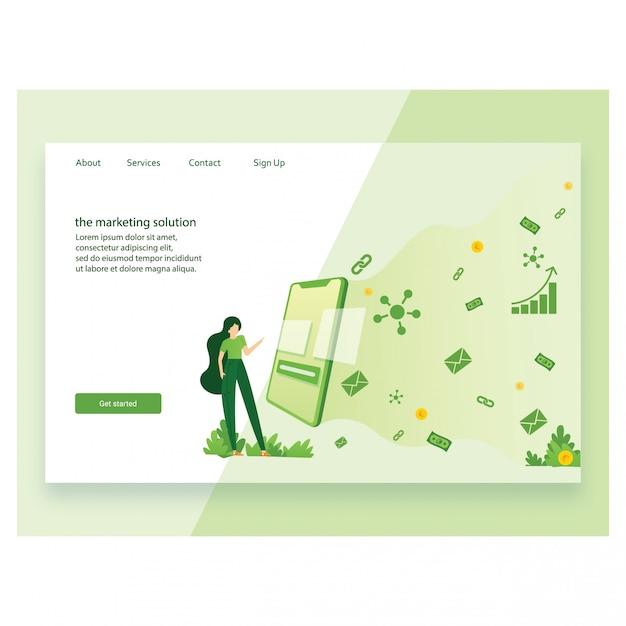 ランディングページテンプレートのマーケティングのモダンなフラットデザインのコンセプト Premiumベクター