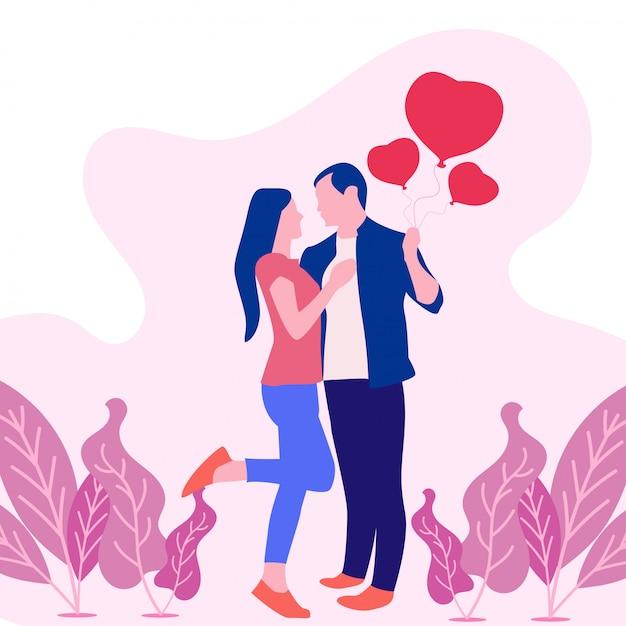 День святого валентина векторные иллюстрации с влюбленная пара. Premium векторы