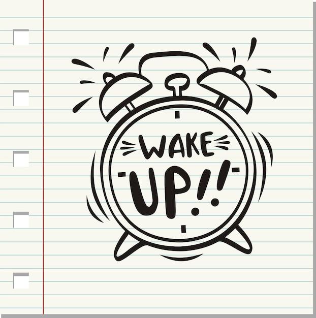 目覚まし、目覚まし時計の碑文。 Premiumベクター
