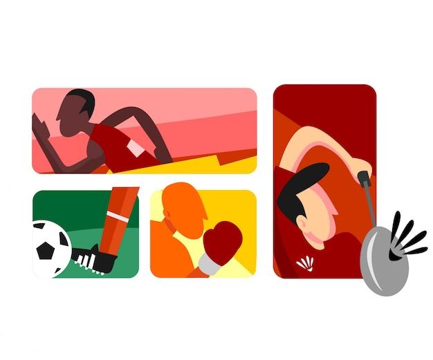 フラットベクトルアスリートボクシングサッカーランニングとバドミントン Premiumベクター
