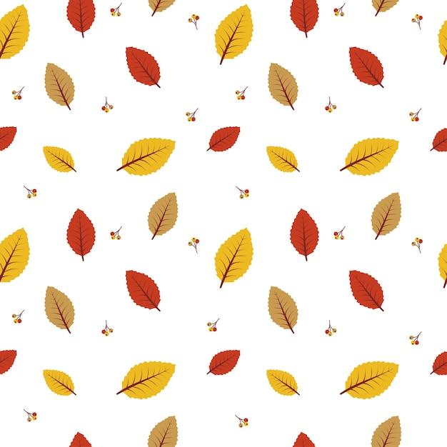 秋の葉のシームレスなパターンの背景 Premiumベクター