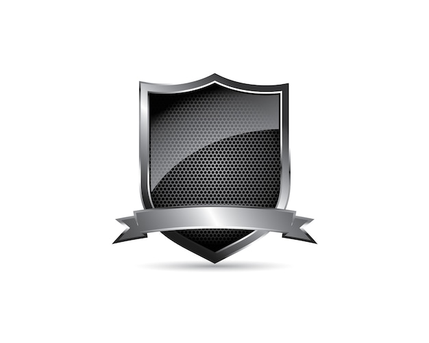Черный глянцевый металлический стальной бланк щит с логотипом ленты Premium векторы