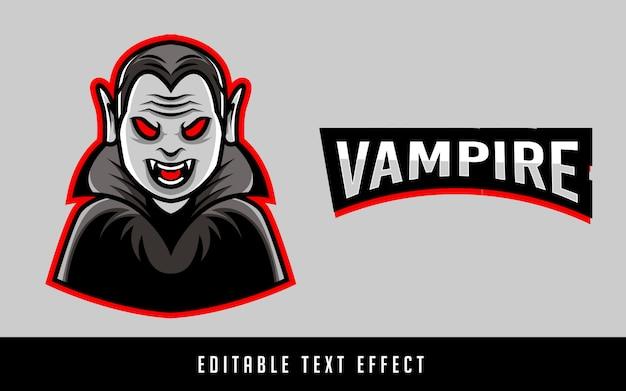 編集可能なテキストで吸血鬼のスポーツのロゴ Premiumベクター