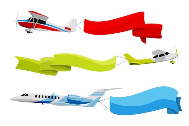 Прикрепленные баннеры к летящим самолетам. векторная иллюстрация в мультяшном стиле Premium векторы