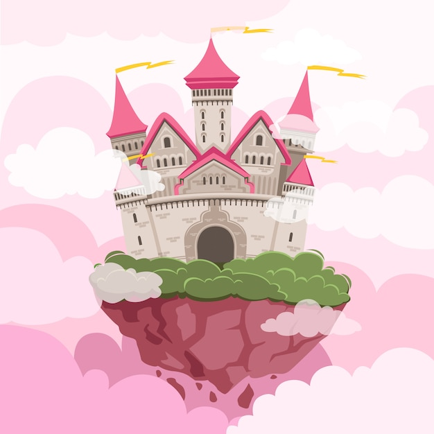 空に大きな塔を持つおとぎ話の城。ファンタジー風景の背景 Premiumベクター