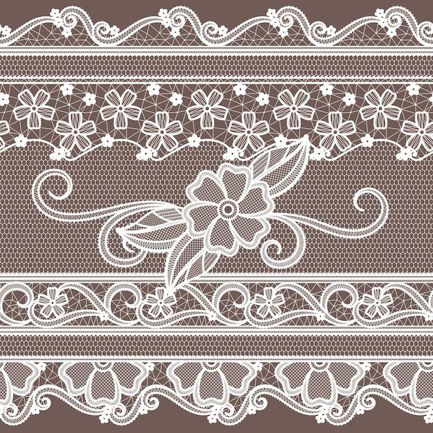 Ткань кружевная с цветочным декором. мода бесшовные модели в стиле барокко. Premium векторы