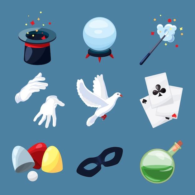 魔術師のアイコンを設定します。漫画のスタイルで驚きのベクトルイラスト。魔法の杖、ミステリーブック、シリンダー Premiumベクター