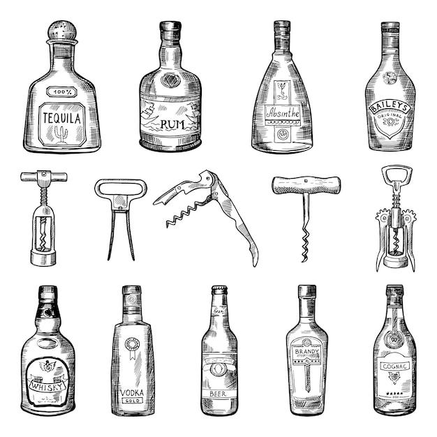 Иллюстрации штопора и разных винных бутылок Premium векторы