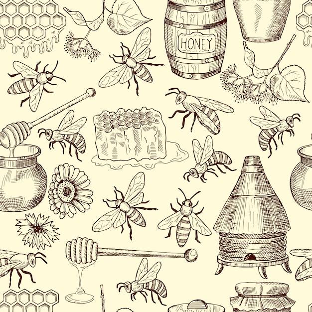 Бесшовный узор вектор с медом, пчелами и сотами Premium векторы