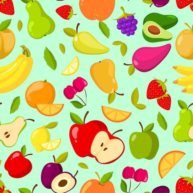 ベクターのシームレスな夏の果物のパターン。カラフルな漫画の背景 Premiumベクター