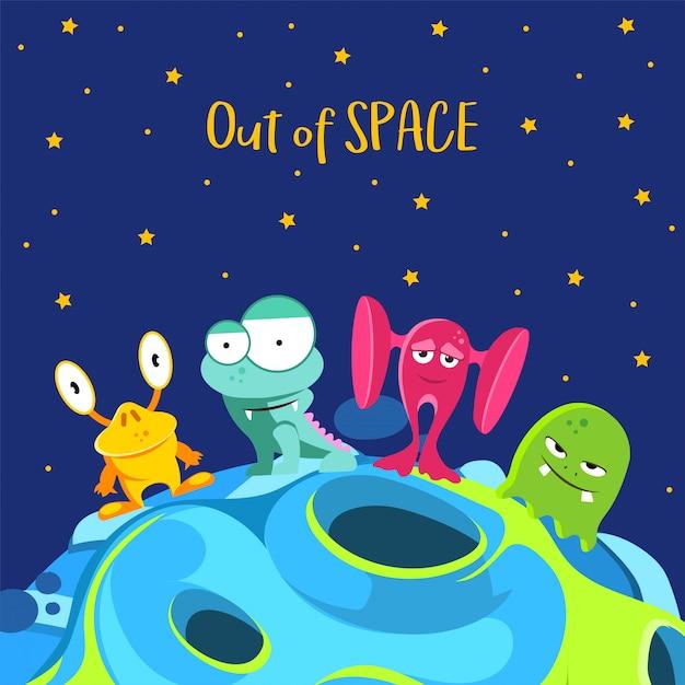 スペース不足です。漫画のスタイルのモンスターと宇宙船の背景 Premiumベクター