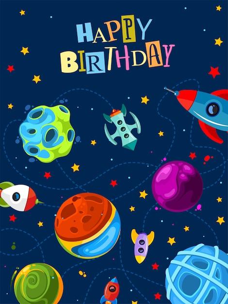 かわいい惑星とロケット誕生日ギフトカード Premiumベクター