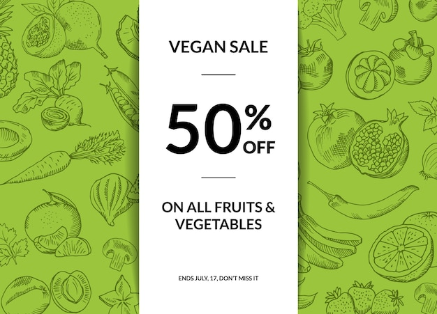 影のイラストと手描きの果物と野菜のビーガン販売の背景 Premiumベクター