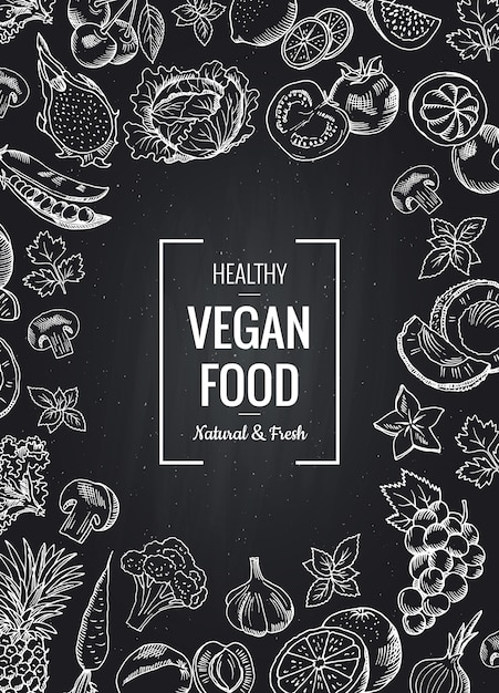 Вектор доске вертикальный фон с овощами и фруктами и место для текста. эскиз каракули овощей и фруктов органического рисунка иллюстрации Premium векторы
