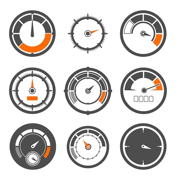 Векторные иллюстрации набор различных спидометров. мили и скоростные показатели. измерение индикатора спидометра, контроль скорости оборудования Premium векторы