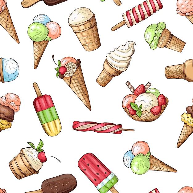 チョコレートアイスクリームと甘い食べ物のデザート、チョコレートとバニラアイスクリームのシームレスなパターン。ベクトルイラスト Premiumベクター