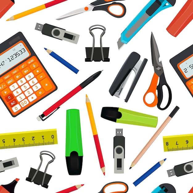 さまざまな学校付属品からシームレスなパターンをベクトル。学校のイラストに戻る。学校パターン背景用アクセサリー Premiumベクター