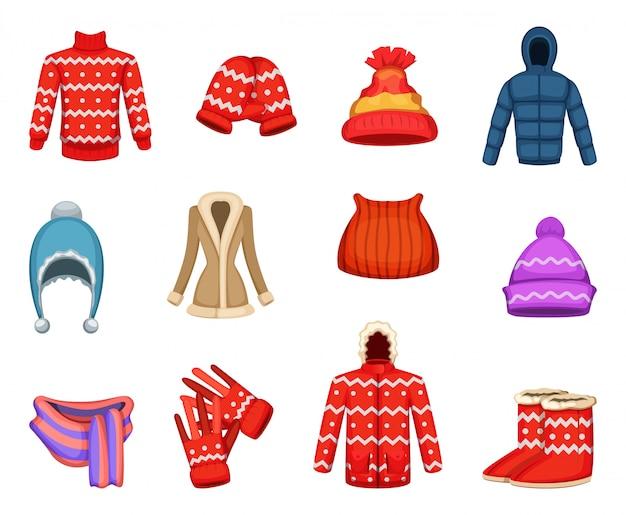 Векторные иллюстрации коллекции зимней одежды Premium векторы