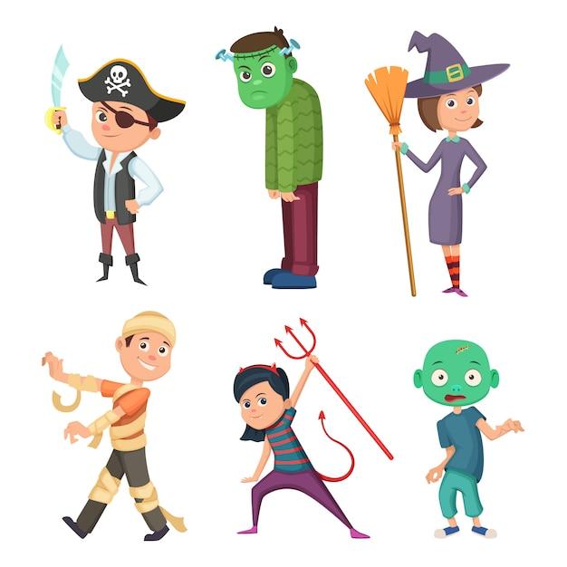 Милый и страшный хеллоуин костюм для детей. зомби, пират, дьявол и другие. векторная коллекция в мультяшном стиле Premium векторы