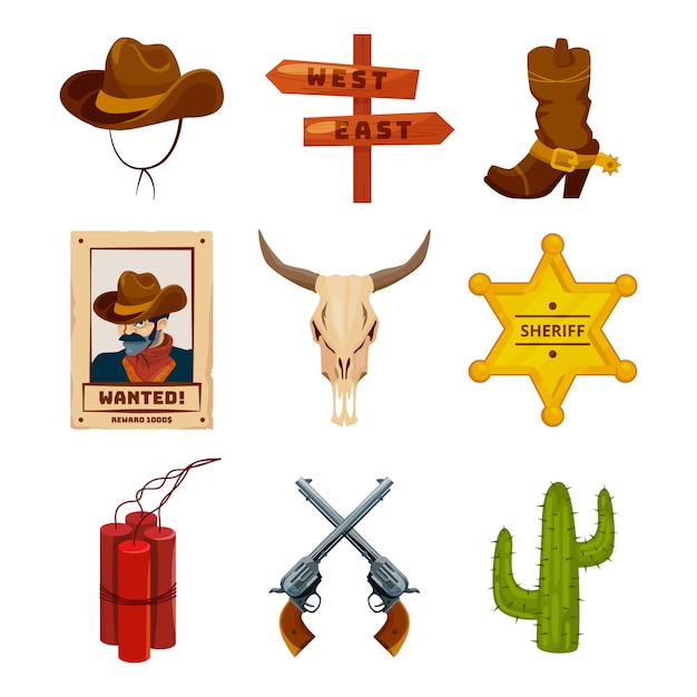 Дикий запад коллекция икон. западные иллюстрации в мультяшном стиле. сапоги, ружья, кактус и череп Premium векторы