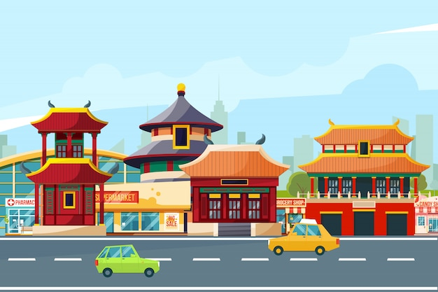 Китайский городской пейзаж с традиционными зданиями. китайский квартал в мультяшном стиле. векторные иллюстрации Premium векторы