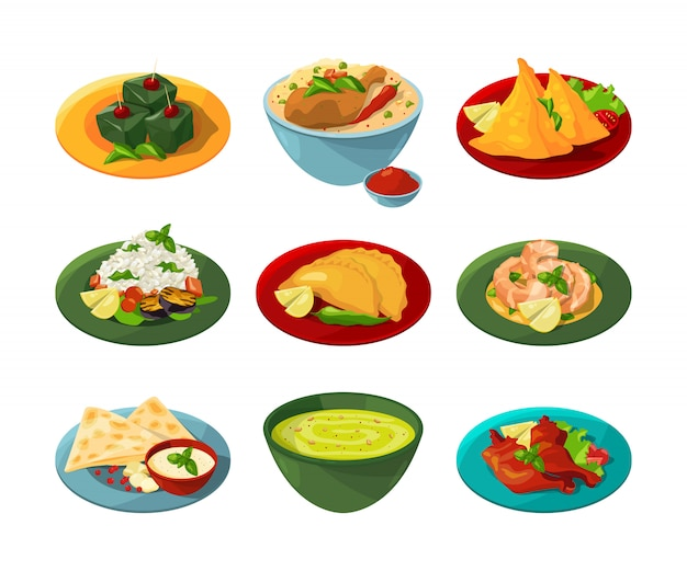 さまざまな料理の伝統的なインド料理の漫画セット Premiumベクター