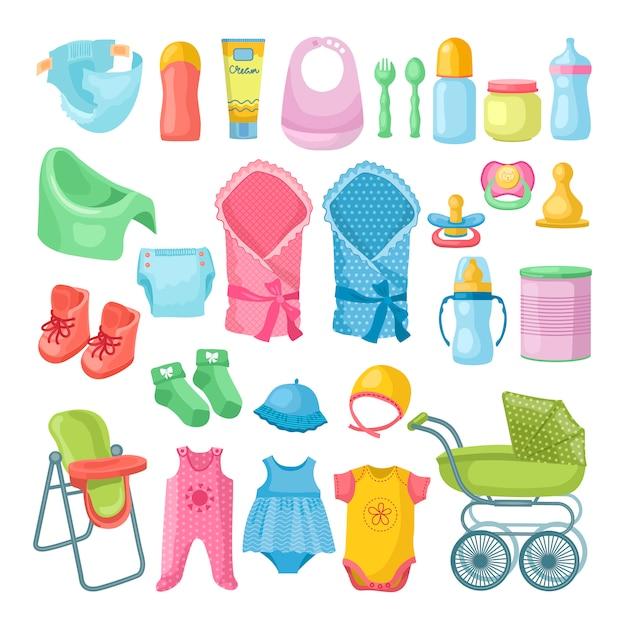 新生児のもののイラストセット Premiumベクター