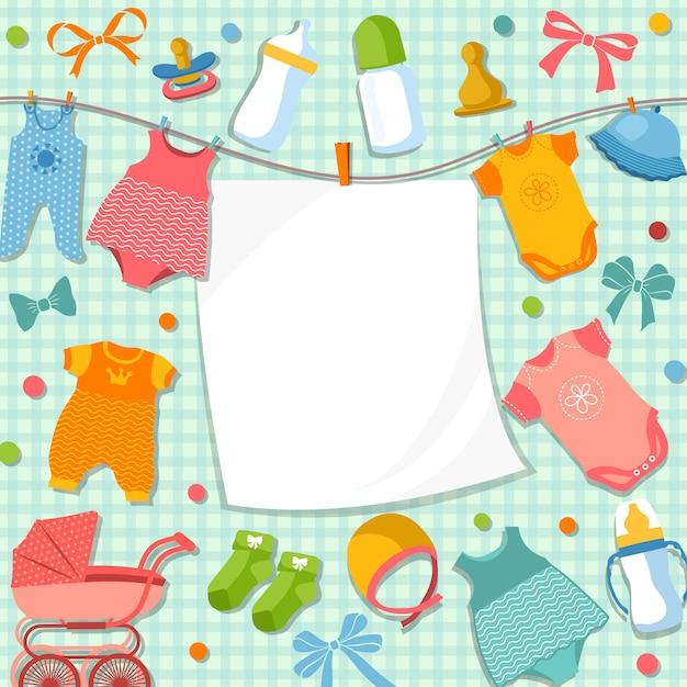 スクラップブックの生まれたばかりの赤ちゃんのためのかわいいフレーム Premiumベクター