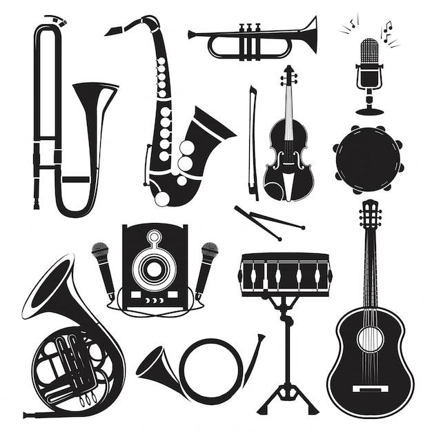 白で隔離される楽器のさまざまな白黒写真 Premiumベクター