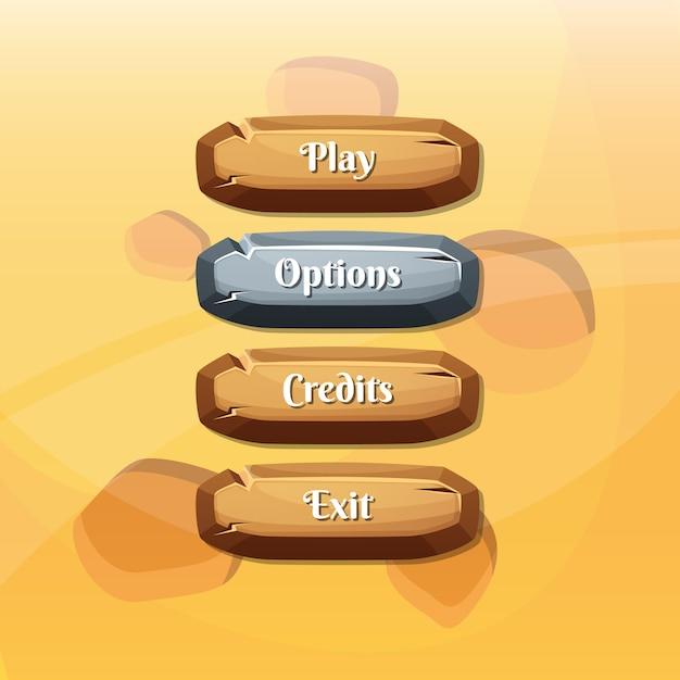 ゲーム用テキスト付きボタン Premiumベクター