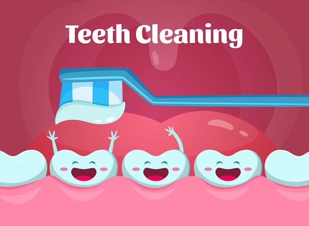 口の中にかわいいと面白い歯の漫画イラスト。 Premiumベクター