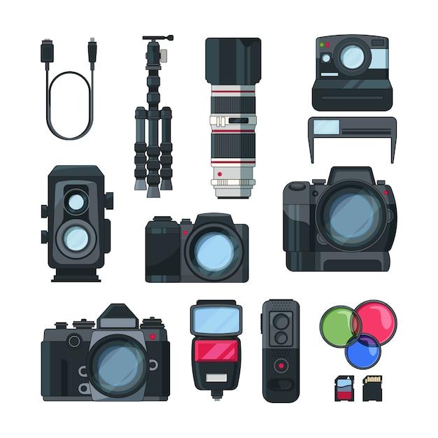 漫画のスタイルのデジタル写真とビデオカメラ Premiumベクター