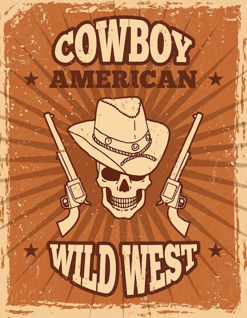 野生の西のテーマのビンテージポスター Premiumベクター