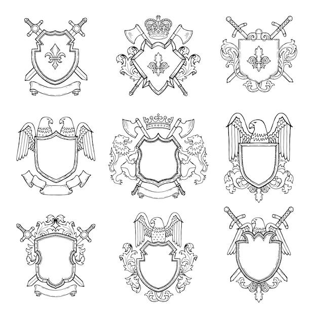 Шаблон геральдических эмблем для различных дизайн-проектов Premium векторы