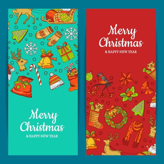 メリークリスマスバナーセット Premiumベクター