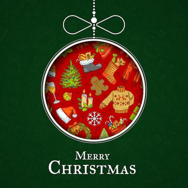 Рисованной цветные рождественские элементы с санта Premium векторы