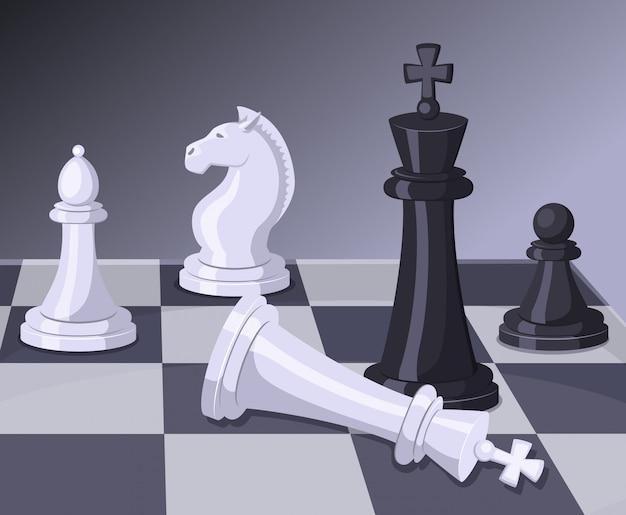 チェスゲームの決勝戦。 Premiumベクター