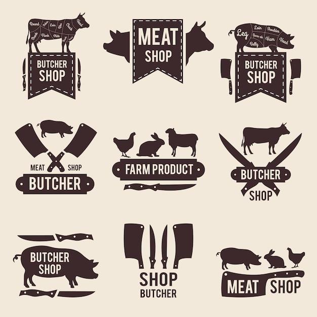 肉屋の白黒ラベルセットのデザイン Premiumベクター