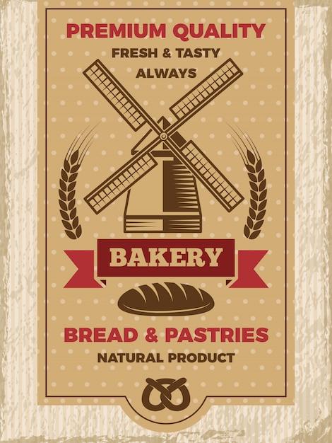 パン屋さんのビンテージポスター。あなたのテキストのための場所を持つテンプレート Premiumベクター