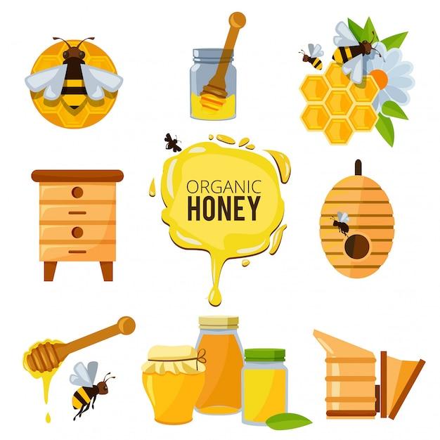 蜂蜜のバンブルと他の養蜂のシンボルのカラフルな写真 Premiumベクター