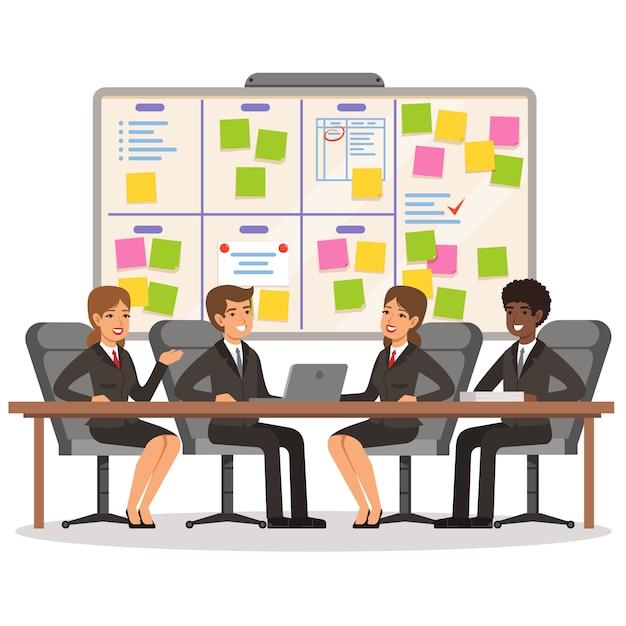 ビジネスチームは作業し、スクラムボード上でいくつかの計画を立てる Premiumベクター