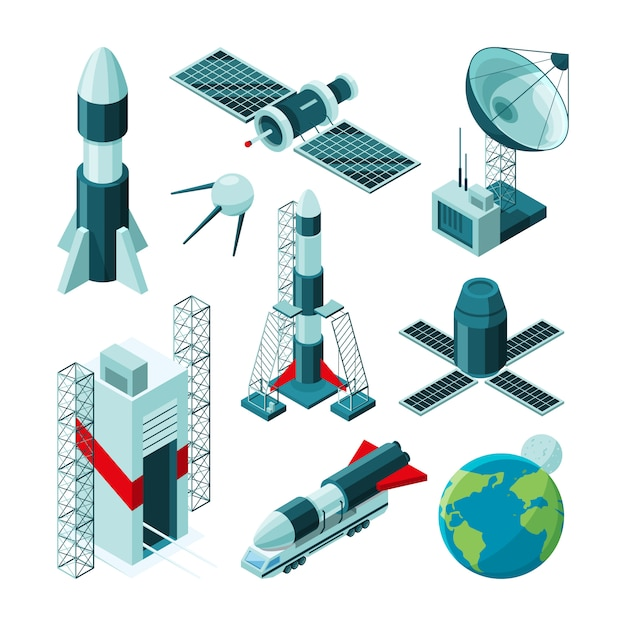宇宙センターのさまざまな道具や構造の等尺性写真。 Premiumベクター