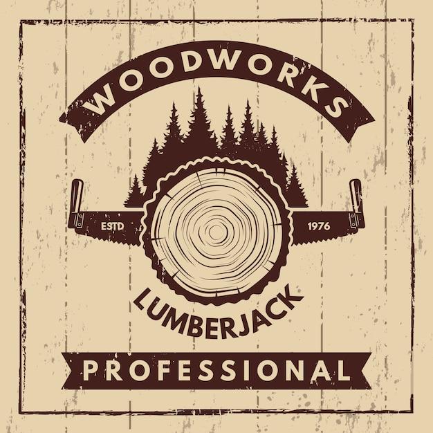 製材所と木こりの白黒のシンボルとレトロなポスター Premiumベクター
