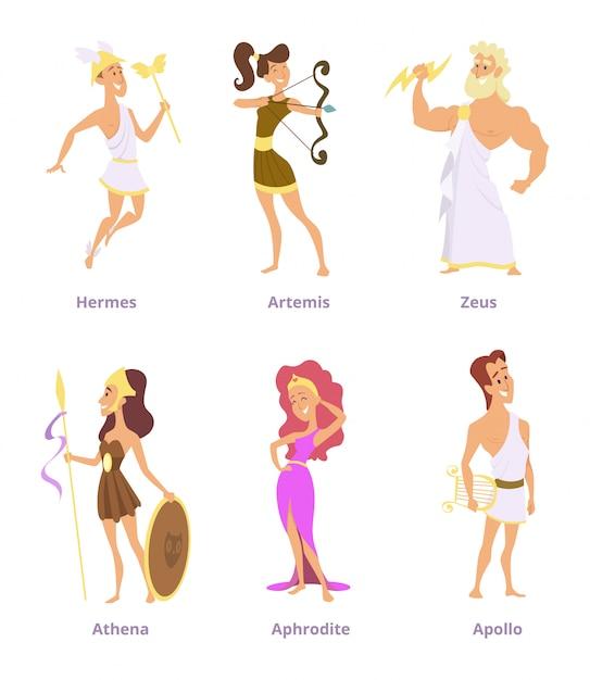 ギリシャの古代の神々。漫画のキャラクターの男性と女性のセット Premiumベクター