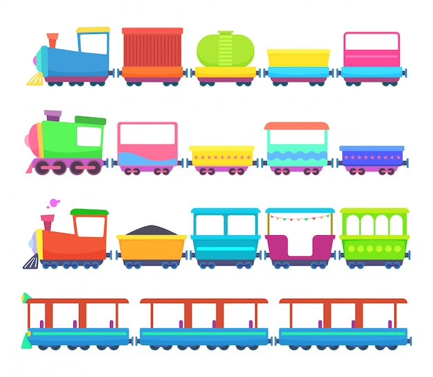 子供のおもちゃ色付き漫画列車のミニチュア Premiumベクター