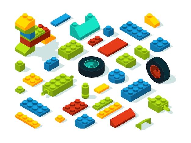 プラスチックコンストラクター等尺性レンガ白を分離します。 Premiumベクター