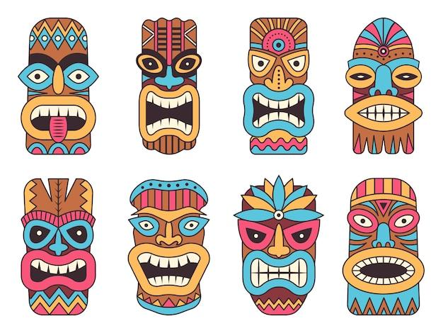 Гавайский бог тики. племенной тотем Premium векторы