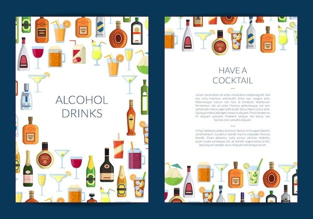 グラスやボトルのアルコール飲料とバーや酒屋のパンフレットの型板 Premiumベクター