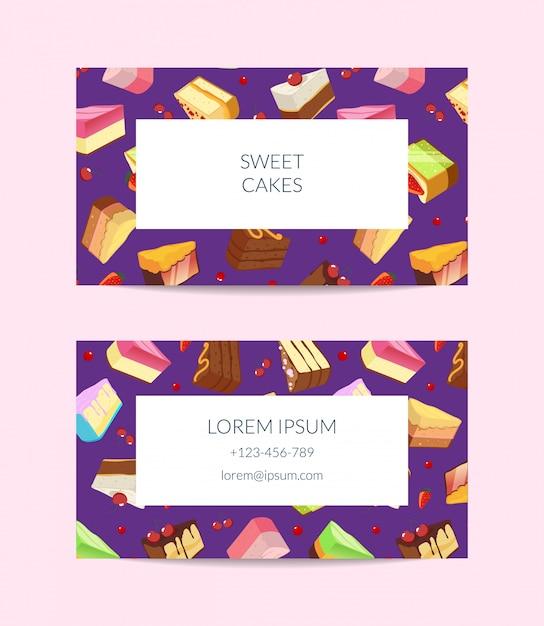 菓子屋、料理教室またはペストリーショップ名刺テンプレート Premiumベクター
